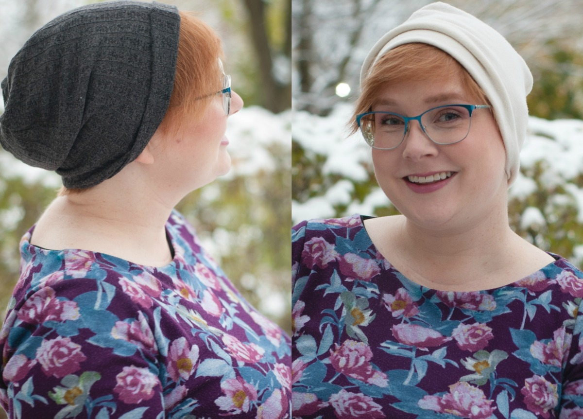 Gillian poses in two versions of the hat -- one a charcoal grey, and the other off-white.