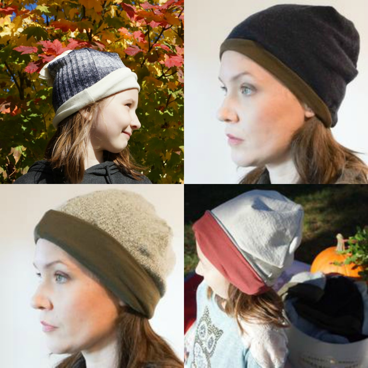 A collage showing Becky and her daughter in various versions of the beanie