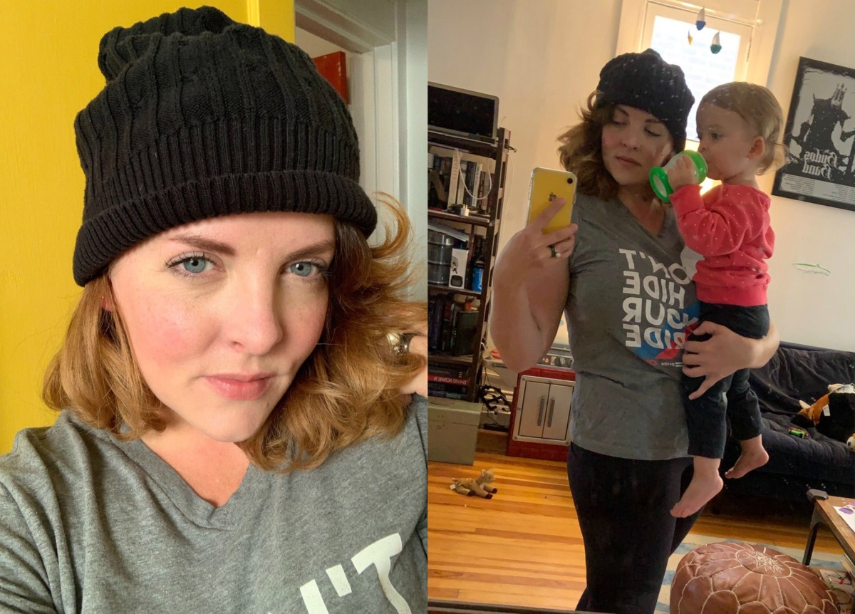 Two pictures of Gabby wearing her black upcycled hat. On the left is a close-up selfie; on the right, we get a sense of her busy life as she takes a mirror selfie with a toddler in her arms!