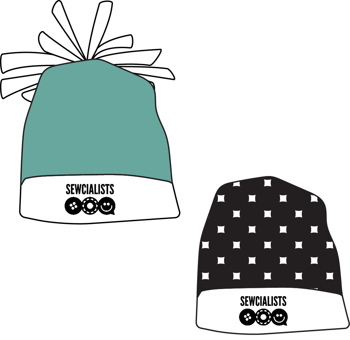 Drawing of the Workhorse x Sewcialists beanie, with and without pompom on top, with the Sewcialists logo on the brim.